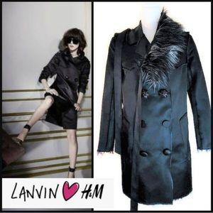 LANVIN H&M SILK SATIN FAUX FUR COAT EU 32 US 2 XS